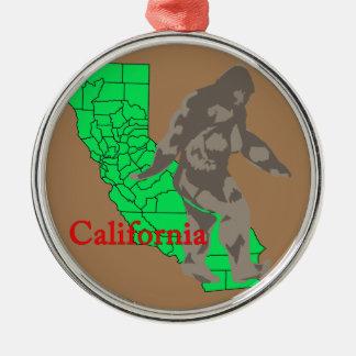 Ornement Rond Argenté La Californie Bigfoot