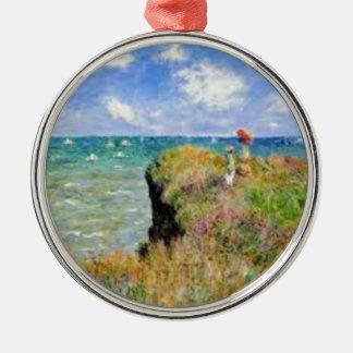 Ornement Rond Argenté La falaise de Pourville de Claude Monet