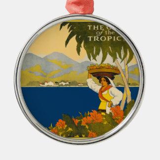 Ornement Rond Argenté La Jamaïque la gemme du voyage vintage de