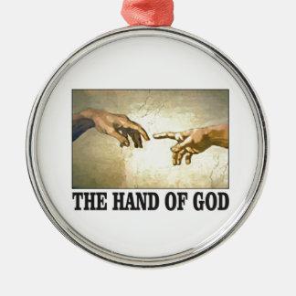 Ornement Rond Argenté la main d'un dieu