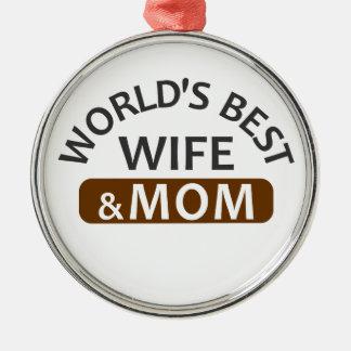 Ornement Rond Argenté La meilleure épouse et la maman du monde