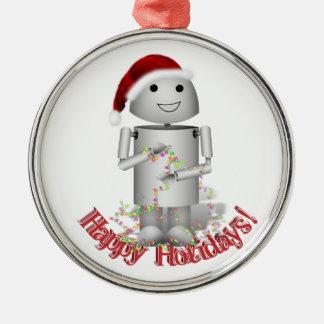 Ornement Rond Argenté La petite aide de Père Noël - robot mignon,