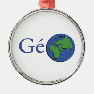 Ornement Rond Argenté la planète terre - géographie