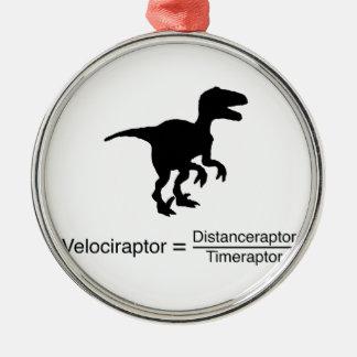Ornement Rond Argenté la science drôle de velociraptor