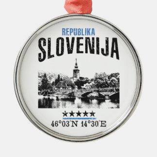 Ornement Rond Argenté La Slovénie