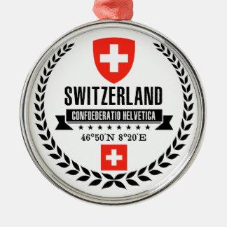 Ornement Rond Argenté La Suisse