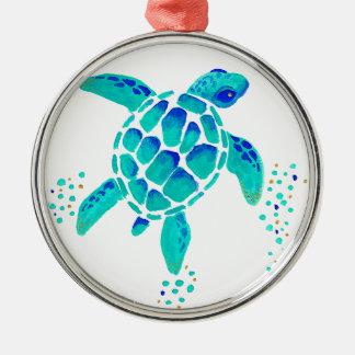 Ornement Rond Argenté La tortue de Neptune