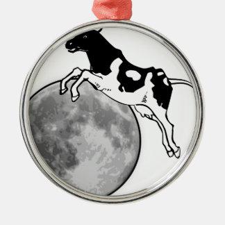 Ornement Rond Argenté La vache sautant par-dessus la lune