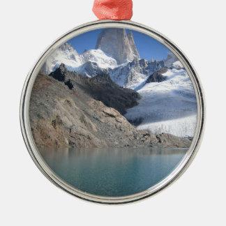 Ornement Rond Argenté Lac de paysage d'hiver de Noël