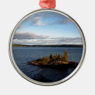 Ornement Rond Argenté Lac du nord ontario