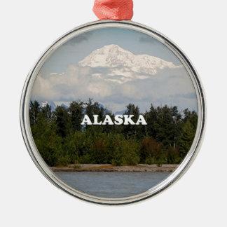 Ornement Rond Argenté L'Alaska : Denali, forêt, rivière, montagnes,
