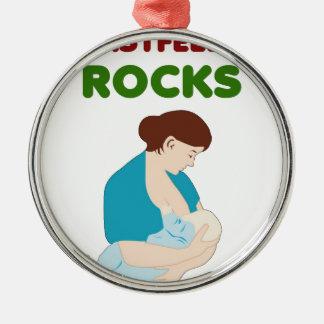 Ornement Rond Argenté l'allaitement des roches, mère, bébé trait le