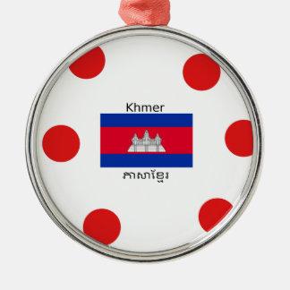 Ornement Rond Argenté Langue de Khmer et conception de drapeau de