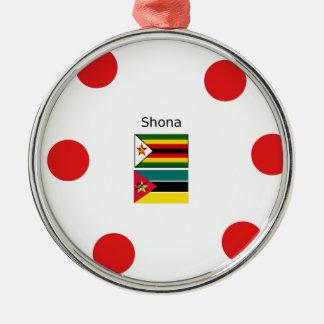 Ornement Rond Argenté Langue de Shona et drapeaux du Zimbabwe et de la