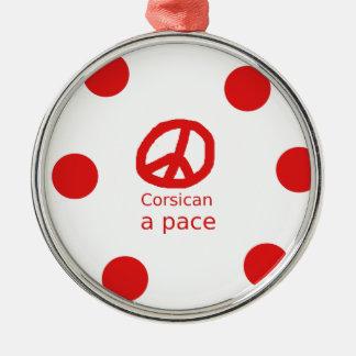 Ornement Rond Argenté Langue et conception corses de symbole de paix