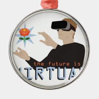 Ornement Rond Argenté L'avenir est virtuel