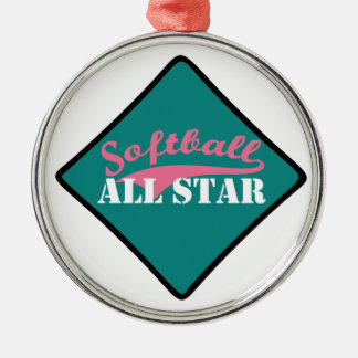 Ornement Rond Argenté Le base-ball All Star