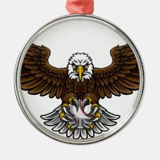 Ornement Rond Argenté Le base-ball d'Eagle folâtre la mascotte