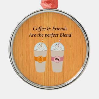 Ornement Rond Argenté Le café et les amis sont l'ornement parfait de