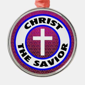 Ornement Rond Argenté Le Christ le sauveur