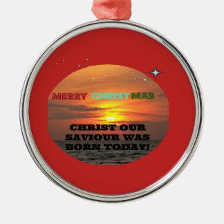 Ornement Rond Argenté Le Christ notre sauveur était né aujourd'hui