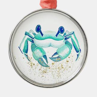 Ornement Rond Argenté Le crabe de Neptune