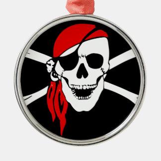 Ornement Rond Argenté Le drapeau de pirate désosse le symbole de danger
