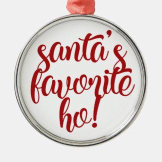 Ornement Rond Argenté Le favori de Père Noël Ho !