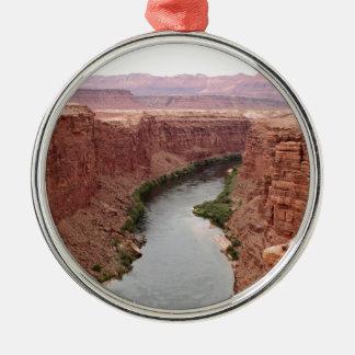 Ornement Rond Argenté Le fleuve Colorado près du pont de Navajo,