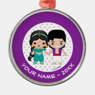Ornement Rond Argenté Le jasmin et l'Aladdin Emoji ajoutent votre nom