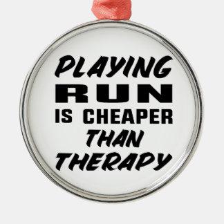 Ornement Rond Argenté Le jeu couru est meilleur marché que la thérapie