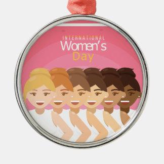 Ornement Rond Argenté le jour des femmes internationales