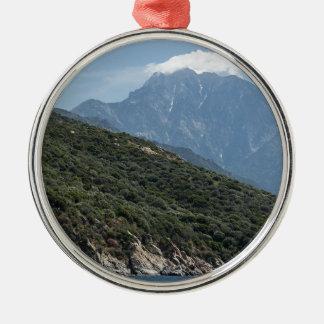 Ornement Rond Argenté le mont Athos