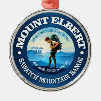 Ornement Rond Argenté Le mont Elbert (randonneur C)