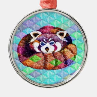 Ornement Rond Argenté Le panda rouge concernent le cubisme de turquoise
