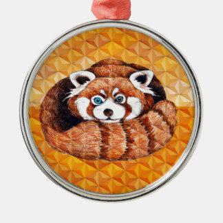 Ornement Rond Argenté Le panda rouge concernent le cubisme orange