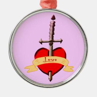 Ornement Rond Argenté le poignard d'amour a percé le coeur