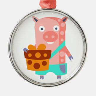 Ornement Rond Argenté Le porc avec la partie attribue génial stylisé