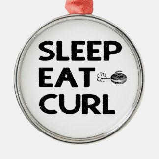 Ornement Rond Argenté Le sommeil mangent la boucle, courbant l'ornement