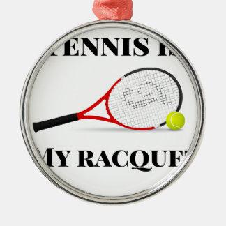 Ornement Rond Argenté Le tennis est mon cadeau de raquette