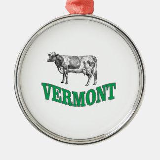 Ornement Rond Argenté le Vermont vert
