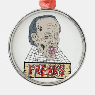 Ornement Rond Argenté Le zombi Freaks le dessin de toiles d'araignée