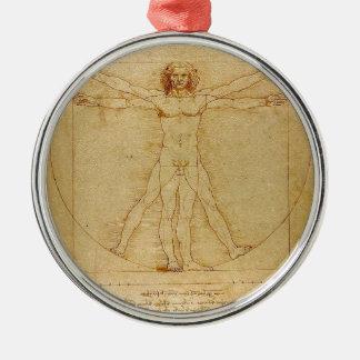 Ornement Rond Argenté Leonardo da Vinci - peinture d'homme de Vitruvian
