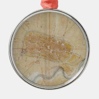 Ornement Rond Argenté Leonardo da Vinci - plan de la peinture d'Imola