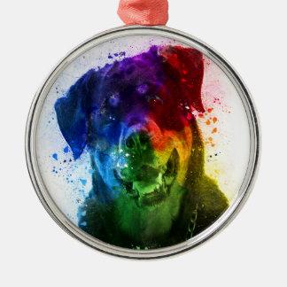 Ornement Rond Argenté Les couleurs de l'amour sont un rottweiler