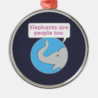 Ornement Rond Argenté Les éléphants sont les gens aussi