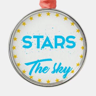 Ornement Rond Argenté Les étoiles laissées allument le ciel