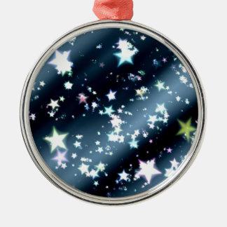 Ornement Rond Argenté les étoiles soustraient l'arrière - plan de noir