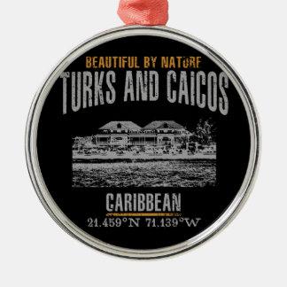 Ornement Rond Argenté Les Îles Turques et Caïques