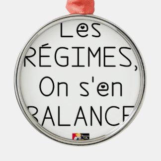 Ornement Rond Argenté Les RÉGIMES on s'en BALANCE - Jeux de Mots